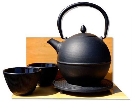 "Cannon Ball trivet Bamboo Forest cups - Japanese style ""Tetsubin"" cast iron black tea pot kettle 0.7"